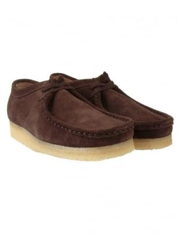 Clarks Originals Wallabee Shoes - Dark Brown Suede