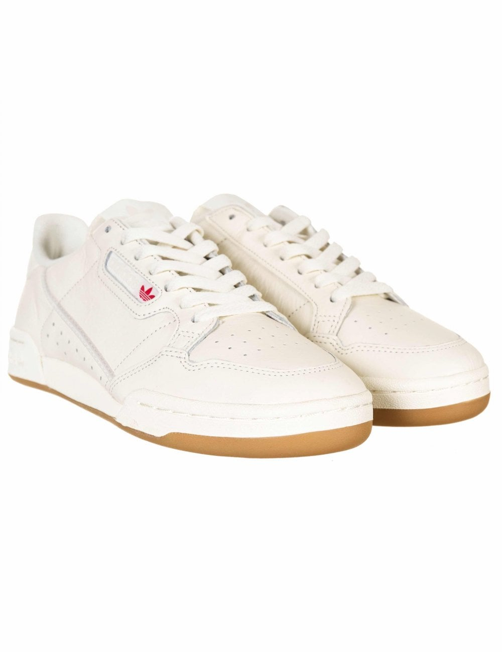 Off White//Raw Gum Adidas Originals Continental 80 Trainers