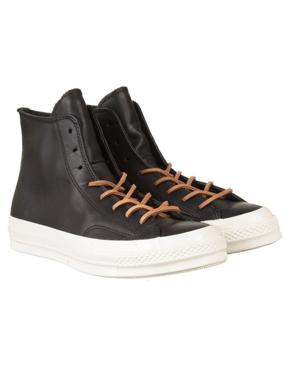 converse 70s. chuck taylor 70s hi leather boots - black/egret converse