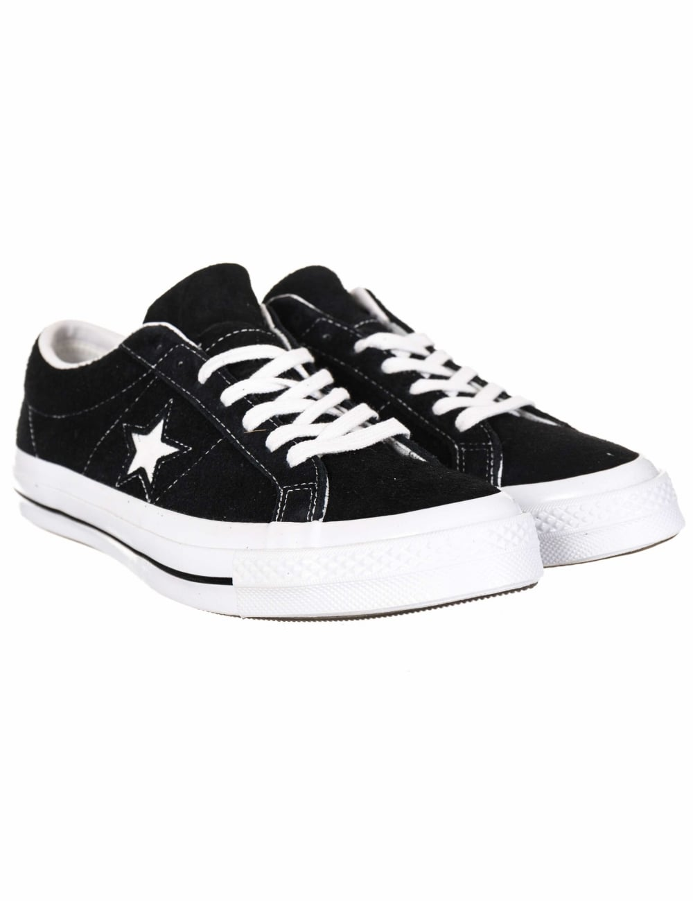 942f72c4caeded Converse One Star Ox Premium Suede Trainers - Black White - Footwear ...