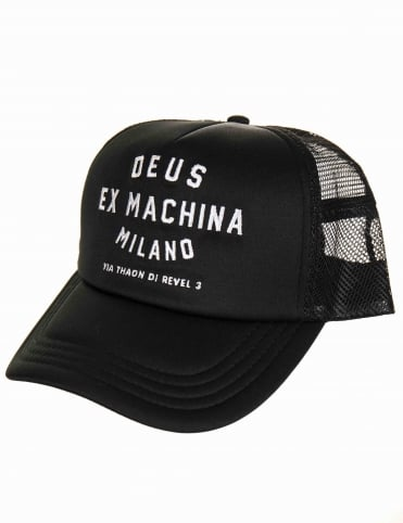 cc0ead009a6 Deus Ex Machina Milan Address Trucker Hat - Black