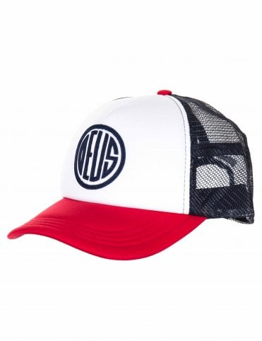 3ca2b9558a37f Deus Ex Machina Pill Trucker Hat - Red Navy