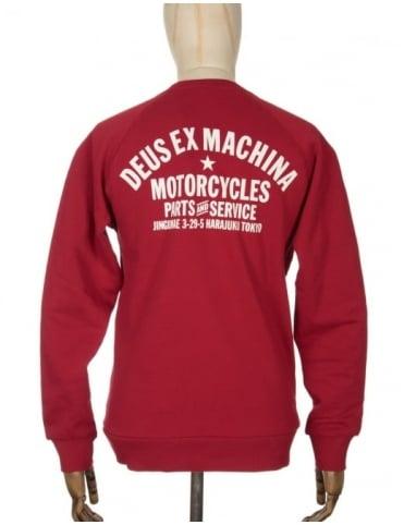 Deus Ex Machina Tokyo Address Sweatshirt - Rich Red