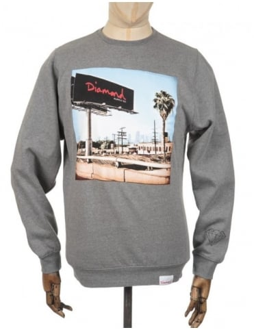 Diamond Supply Co Billboard Photo Sweatshirt - Heather Grey