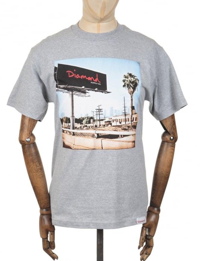 Diamond Supply Co Billboard Photo T-shirt - Heather Grey