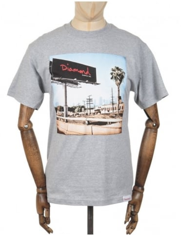 Diamond Supply Co Billboard Photo T-shirt - Heather Grey