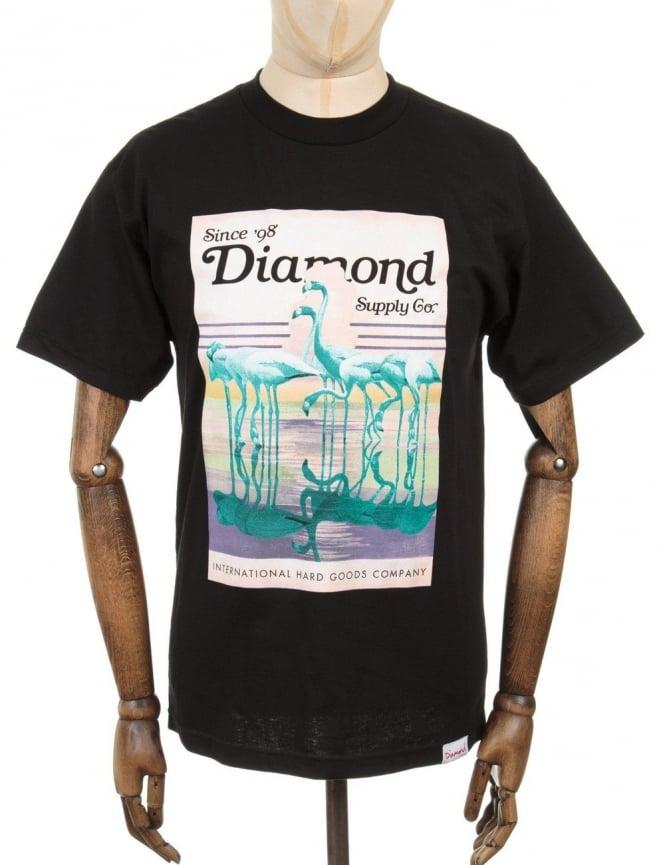 Diamond Supply Co Flamingos T-shirt - Black