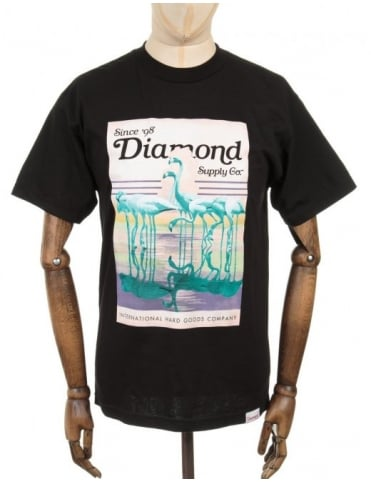 Diamond Supply Co Flamingos T-shirt - Black