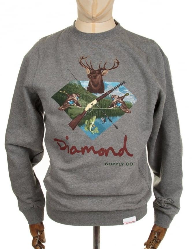 Diamond Supply Co Hunters Club Crewneck Sweatshirt - Heather Grey
