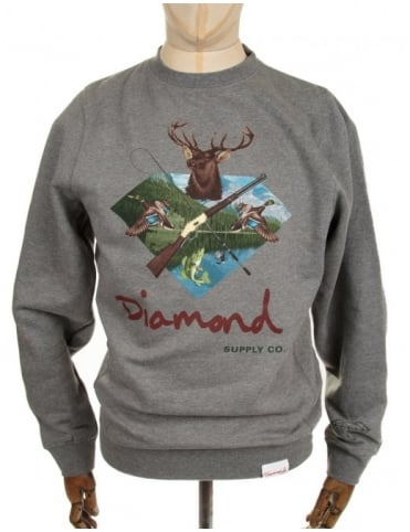 Diamond Supply Co Hunters Club Crewneck Sweatshirt - Heather Grey