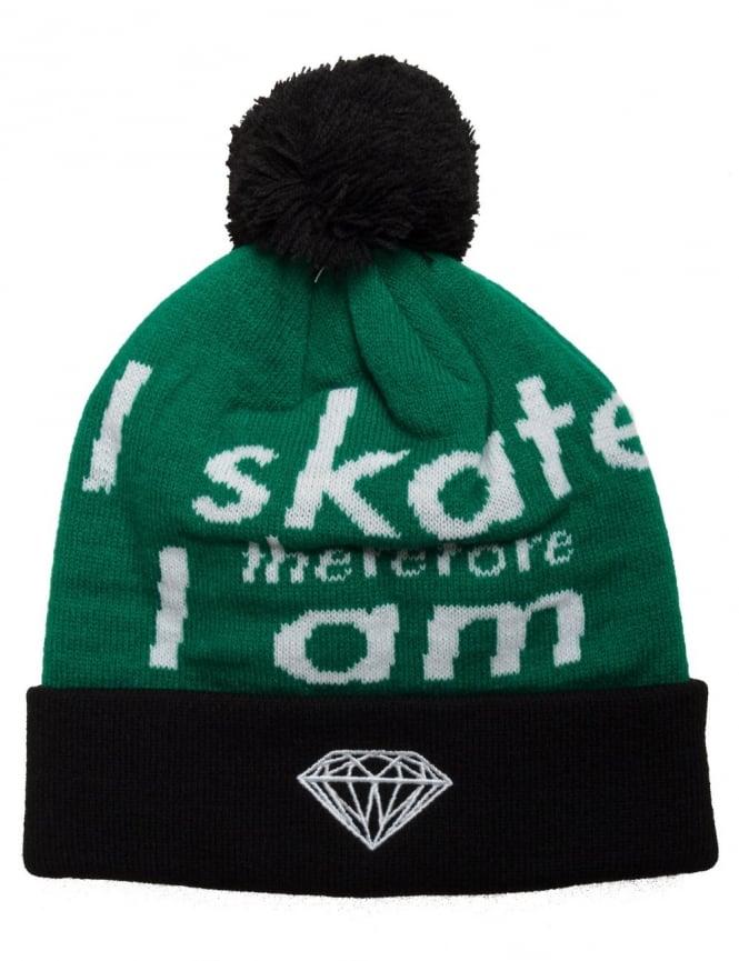 Diamond Supply Co I Am Fold Beanie - Black/Green