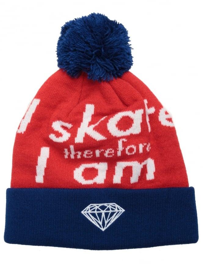 Diamond Supply Co I Am Fold Beanie- Blue/Red