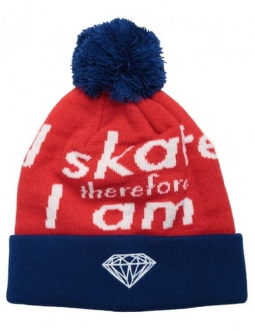 Diamond Supply Co I Am Fold Beanie- Blue/Red