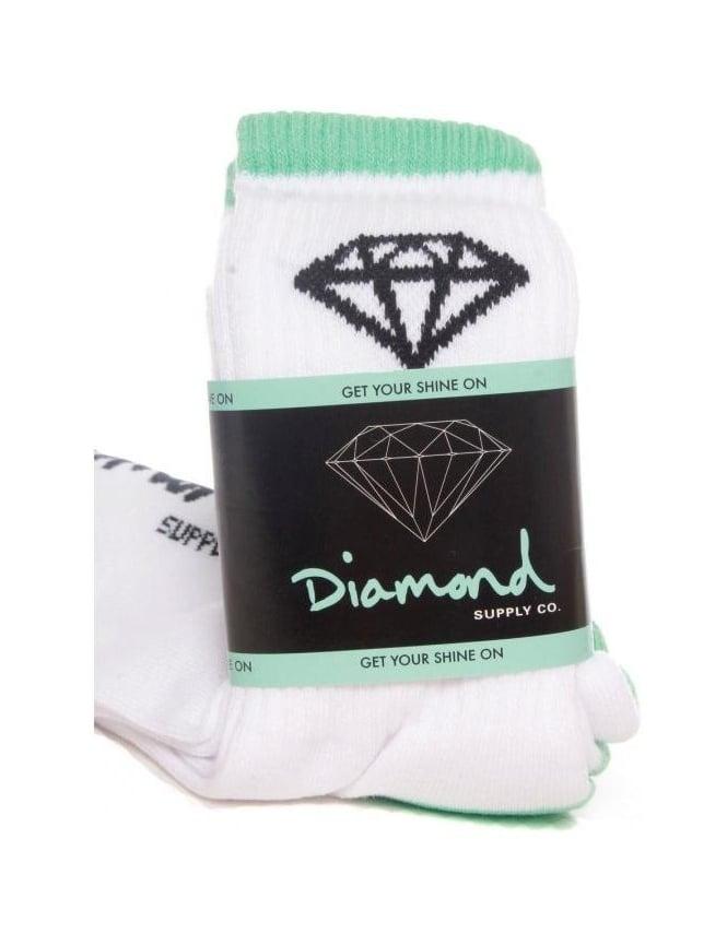 Diamond Supply Co OG High Cut Sock (3pk) - White