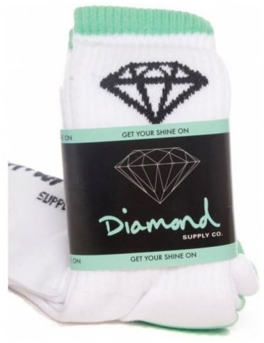 Diamond Supply Co OG High Cut Sock (3pk) - White