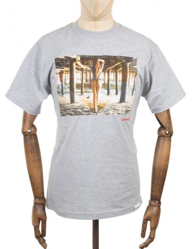 Diamond Supply Co Pier Girl Photo T-shirt - Heather Grey