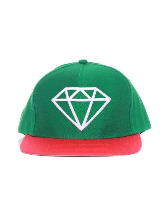 Diamond Supply Co Rock Snapback Hat - Green/White