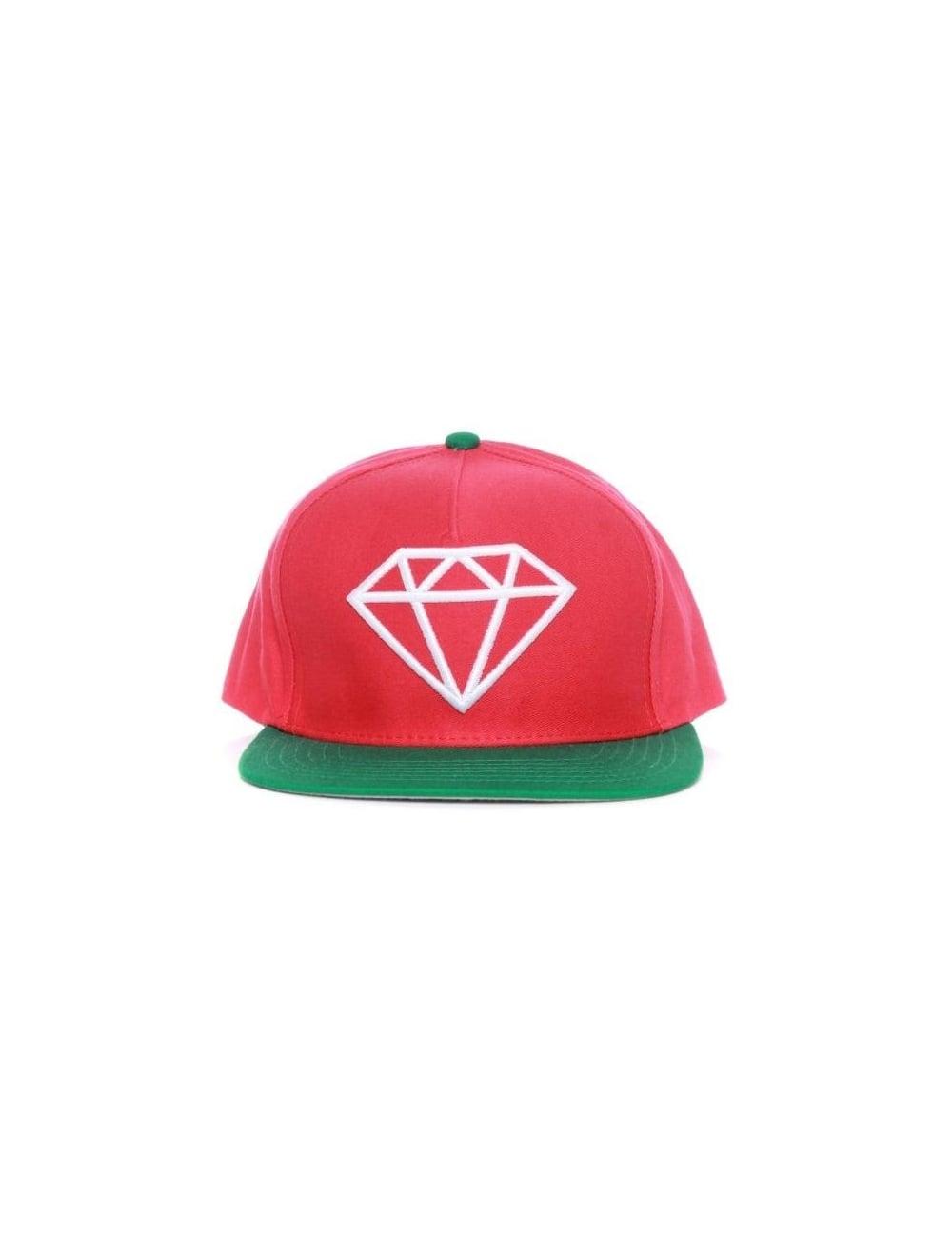 b759933b9b4 Diamond Supply Co Rock Snapback Hat - Red Green - Hat Shop from Fat ...