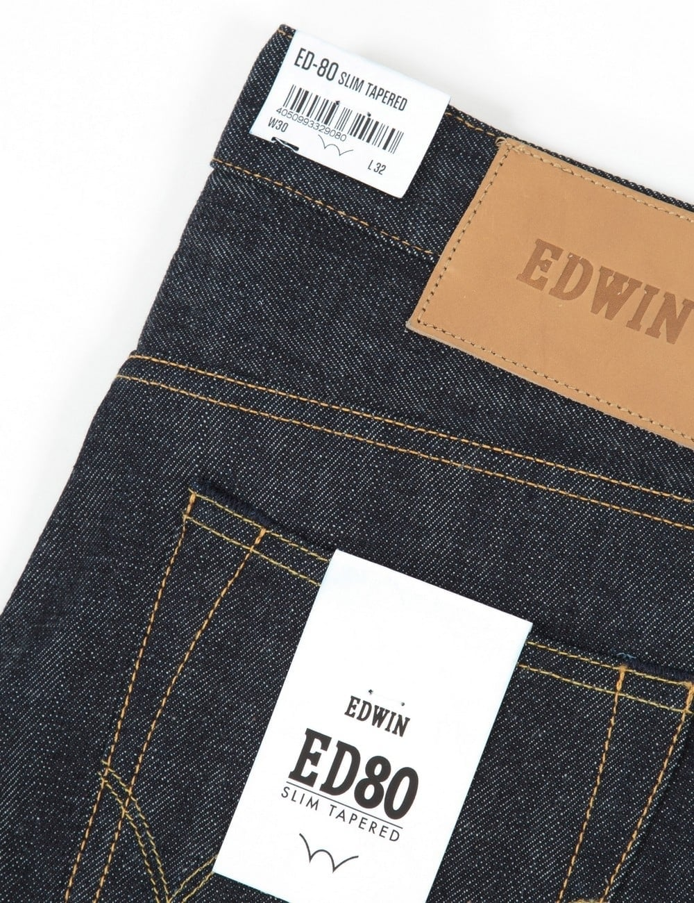 Red Selvage Edwin ED-80 Slim Fit Mens Jeans Black Unwashed