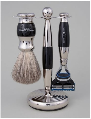 Edwin Jagger Razor 3 piece Set - Fusion (Ebony & Nickel)