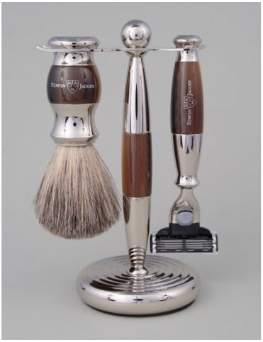 Edwin Jagger Razor 3 piece Set - Mach 3 (Horn & Nickel)