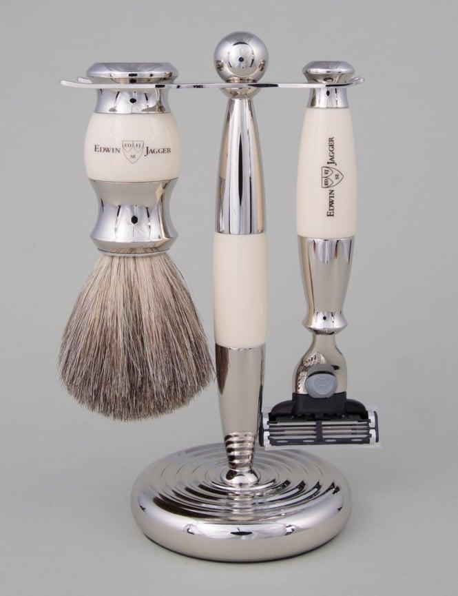 Edwin Jagger Razor 3 piece Set - Mach 3 (Ivory & Chrome)