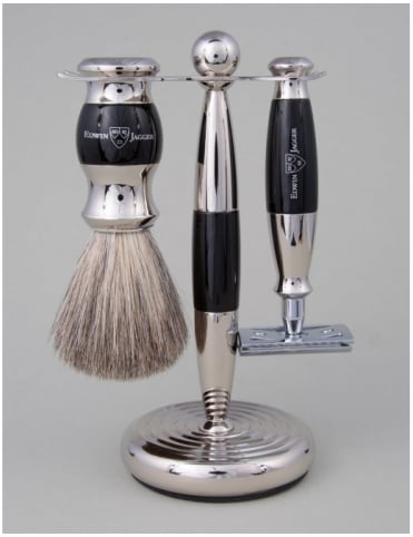Edwin Jagger Razor 3 piece Set - Safety DE (Ebony & Nickel)
