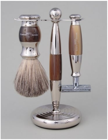Edwin Jagger Razor 3 piece Set - Safety DE (Horn & Nickel)