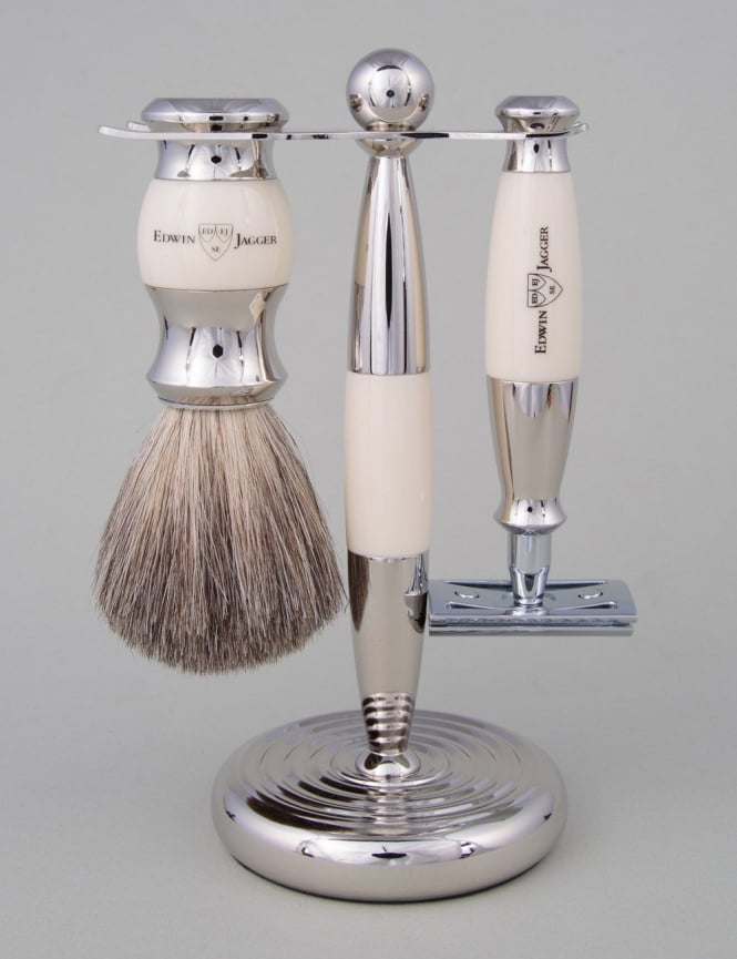Edwin Jagger Razor 3 piece Set - Safety DE (Ivory & Nickel)