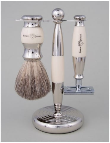 Razor 3 piece Set - Safety DE (Ivory & Nickel)