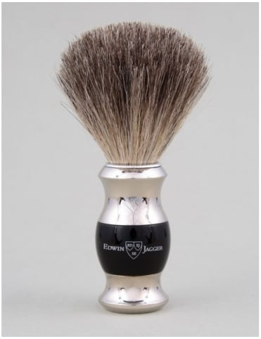 Edwin Jagger Shaving Brush Pure Badger - Ebony (Dbl Nickel Ring)