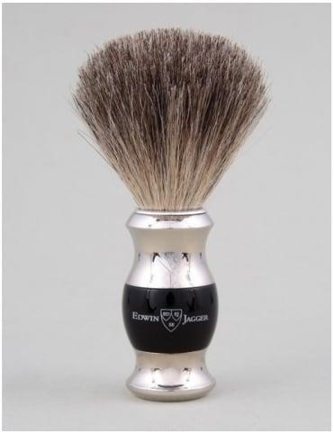 Edwin Jagger Shaving Brush Pure Badger - Ebony (Dbl Nickel Ring)