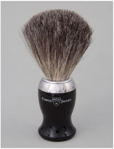 Edwin Jagger Shaving Brush - Pure Badger - Ebony (Nickel)