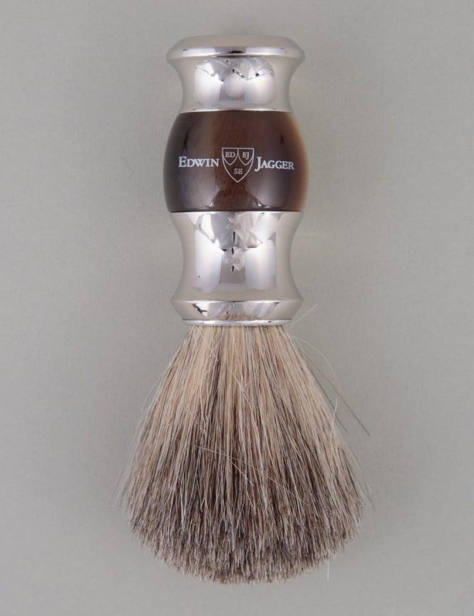 Edwin Jagger Shaving Brush Pure Badger - Horn (Dbl Nickel Ring)