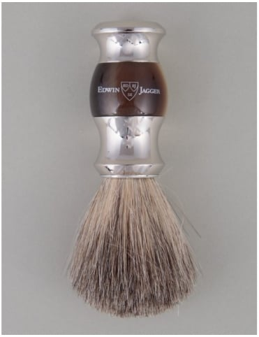 Edwin Jagger Shaving Brush Pure Badger - Horn (Dbl Nickel Ring)