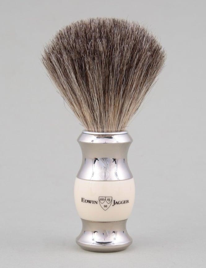 Edwin Jagger Shaving Brush Pure Badger - Ivory (Dbl Nickel Ring)