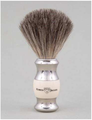 Edwin Jagger Shaving Brush Pure Badger - Ivory (Dbl Nickel Ring)