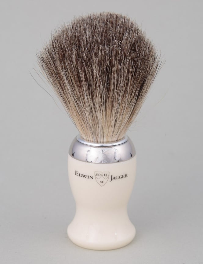 Edwin Jagger Shaving Brush - Pure Badger - Ivory (Nickel)
