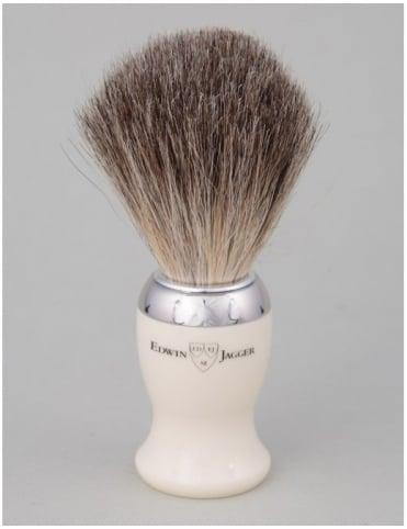Edwin Jagger Shaving Brush - Pure Badger - Ivory (Nickel)