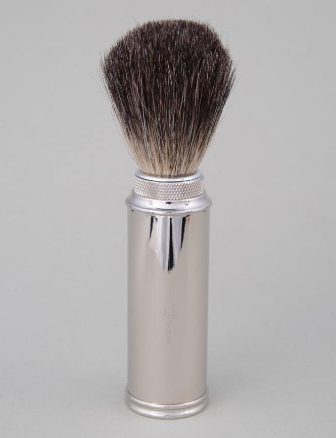 Edwin Jagger Travel Shaving Brush - Pure Badger (Nickel Plated)