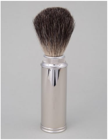 Travel Shaving Brush - Pure Badger (Nickel Plated)