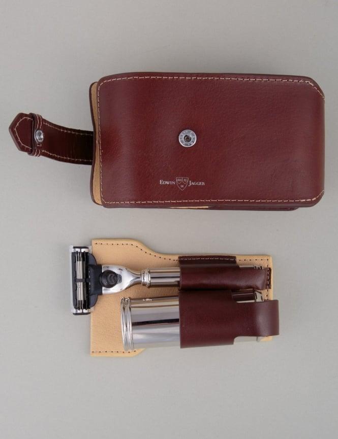 Edwin Jagger Travel Shaving Kit - Mach 3 (Brown Leather)