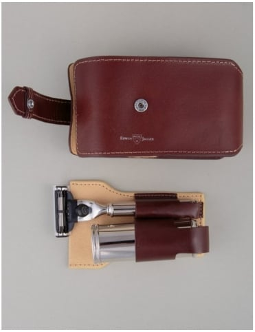 Edwin Jagger Travel Shaving Kit - Mach 3 (Brown Leather)