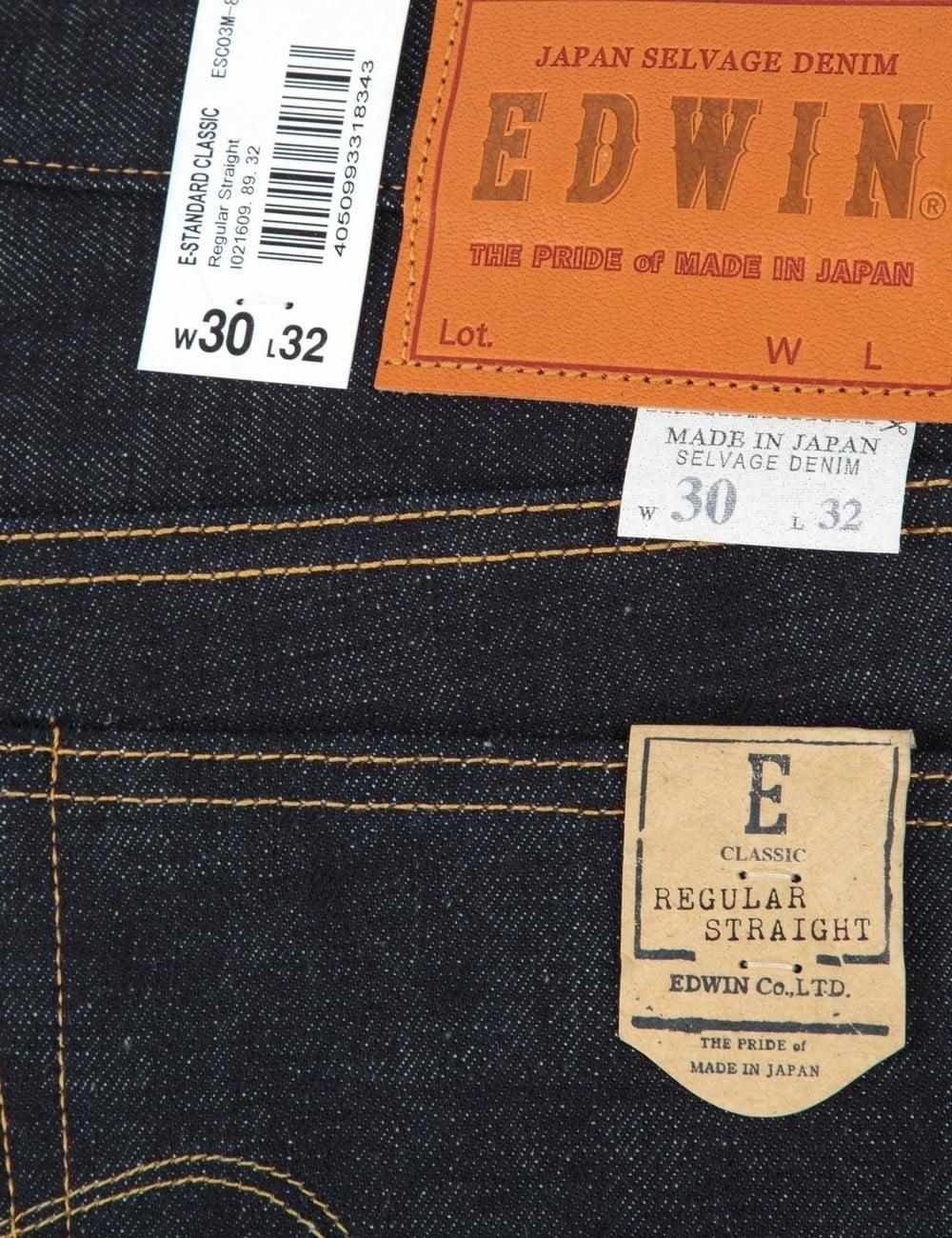 Edwin Jeans Classic Regular Straight Rainbow Selvedge Denim Raw