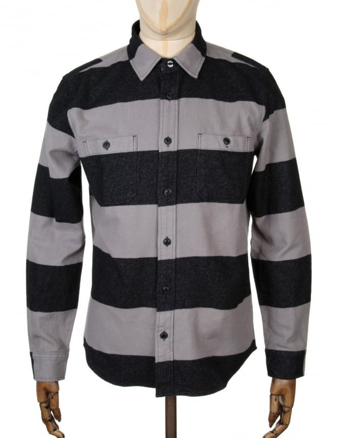 Edwin Jeans L/S Labour Shirt - Grey/Black Stripe