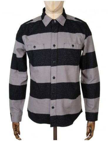Edwin Jeans L/S Labour Shirt - Grey/Black Stripe