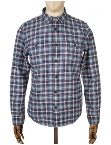 Edwin Jeans L/S Labour Shirt - Navy/Off White Check