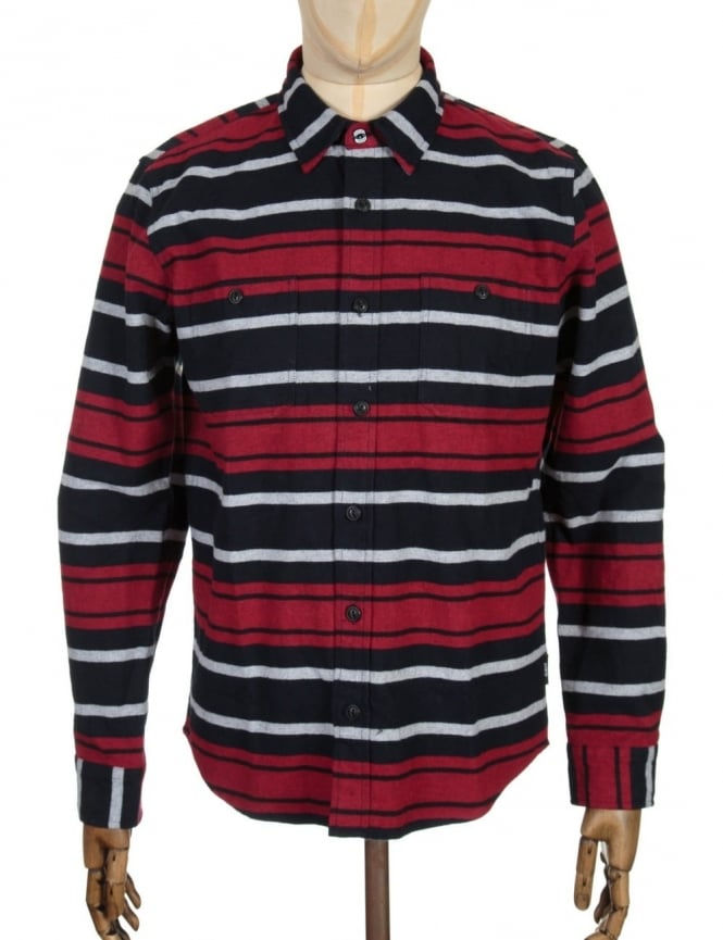 Edwin Jeans L/S Labour Shirt - Navy/Red