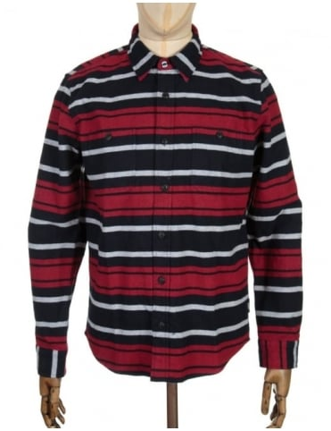 Edwin Jeans L/S Labour Shirt - Navy/Red