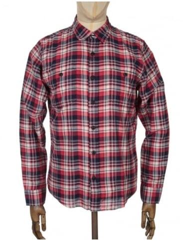Edwin Jeans L/S Labour Shirt - Red Herringbone